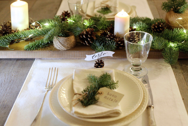 Addobbi per la tavola natalizia